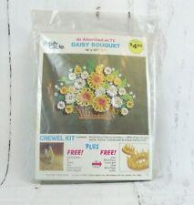 Vintage 1974 Family Circle Crewel Embroidery Kit Daisy Bouquet 14 x 18 Nip