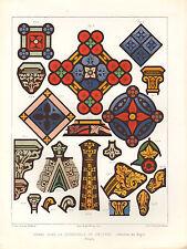 Impression architectural français 1851 ~ vitrail à la cathédrale de Cologne