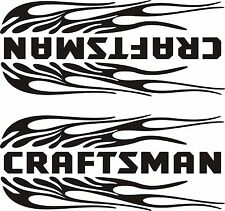 """PAIR OF CRAFTSMAN FLAMING  DECALS  BLACK 1- LEFT  & 1- RIGHT  3 3/4"""" X 9"""" EACH"""