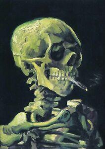 Skeleton with Cigarette - Van Gogh A3 size 29.7x42cm Canvas Art Print Unframed