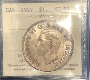 1937 Canada Silver Dollar - ICCS MS-65 - #XQC 498