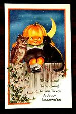 PUMPKIN HEAD BOY OWL BLACK CAT MOON rare Whitney HALLOWEEN Fantasy Postcard 1917