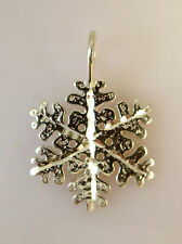 .925 Sterling Silver Large Hammered SNOWFLAKE Pendant NEW Winter Snow 925 PW12