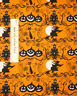 Halloween Witch Haunted House Black Cat Silhouettes Orange Cotton Fabric YARD