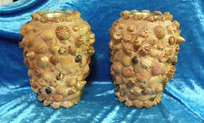Two Victorian Shell Tramp Art Mantel Vases Over Brass 00401010