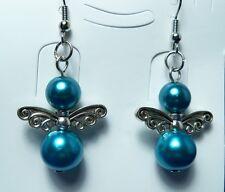1 Pair of Beautiful Blue Bead Angel Earrings New