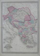 Original 1867 Map AUSTRIA TURKEY IN EUROPE GREECE Hungary Bulgaria Croatia Crete