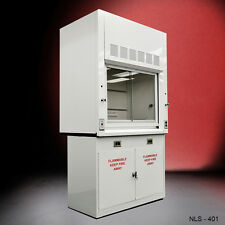 WHITE Chemical 4' Fume Hood W/ LOCKABLE Flammable Base Cabinets NEW--