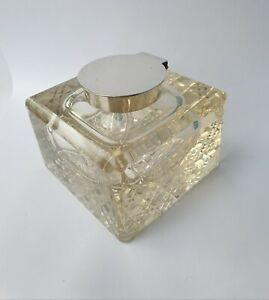 ANTIQUE SOLID SILVER CUT GLASS WILLIAM HUTTON INK BOTTLE INKWELL B'ham 1928