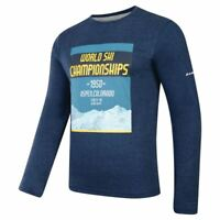 Dare2b Mens T Shirt Summer Running Gym Coalesce Cotton Graphic Long Sleeve Blue