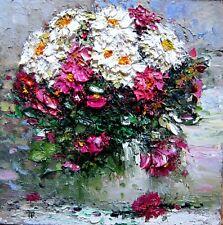 Original oil knife painting PINK flowers canvas vase bouquet fine art Tania