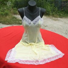 Combinaison fond de robe chemise de nuit vintage MONTAIGUT jaune 46