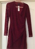 LAUNDRY -Shelli Segal Long sleeve -Lace Overlay Dress- Size:4-Color: Malbec NWT