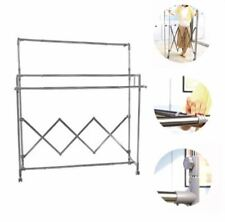 Adjustable 3 Pole Level Dry Clothes Rack Foldable Hanger with wheels