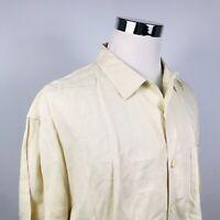 Nat Nast Mens XL 100% Linen Luxury Retro Lounge Shirt Beige Loop Collar Casual