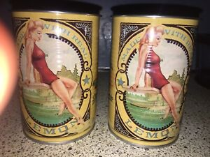 2-Deep Eddy Lemon Vodka Tin Cup Pinup Girl Retro .New Tin  Can Cups..