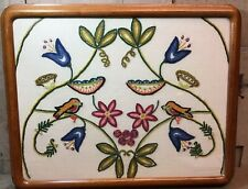 Vintage? Hand Embroidered Birds & Flowers Embroidery In Wood Frame Under Glass