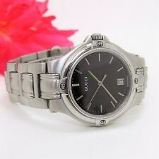 Authentic Gucci Watch 9040m Black Dial Stainless Steel Quartz Watch