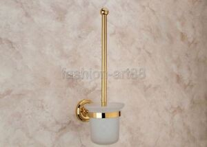 Gold Color Brass Wall Mounted Toilet Brush Holder Bathroom Accessories fba611