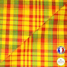Veritable Tissu Madras 100% Coton, jaune-rouge-vert - Coupon à la Mesure