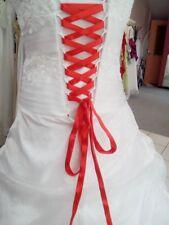 Lacet ruban ROUGE  / 3 mètres - satiné pour robe de mariée/soirée