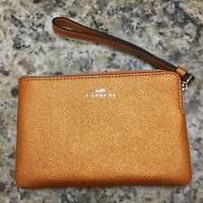 NWT Coach F58032 Corner Zip Wristlet Wallet Crossgrain Leather - you pick color