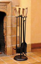 Log Cabin Whitetail Antler Fireplace Tool Set, Rustic, HP-66585, Hughes Prod