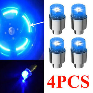 4pcs Car Air Valve Stem Cap Cover Auto Wheel Tire Tyre LED Light Blue Lights