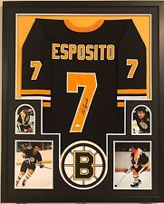 FRAMED PHIL ESPOSITO AUTOGRAPHED SIGNED BOSTON BRUINS JERSEY JSA COA