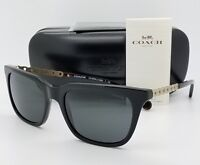 New Coach sunglasses HC8236 500287 56mm Black Gold Grey Chain Cat AUTHENTIC 8236