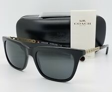 4b56f09e72b New Coach sunglasses HC8236 500287 56mm Black Gold Grey Chain Cat AUTHENTIC  8236