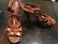 YSL Tribute Brown Leather Platforms Pumps SZ 39.5