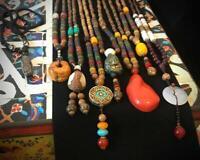 Lange Halskette Nepal Boho Anhänger Retro Vintage Holz Handgefertigt Perlen