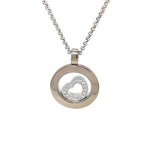 Chopard Happy Spirit 18k White Gold Diamond Heart Necklace
