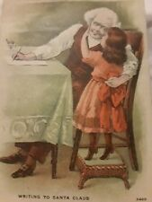 Writing to Santa Claus Girl Christmas Vintage Postcard