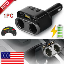 Car Cigarette Lighter Socket Splitter Dual USB With Type C Charger Power Adapter