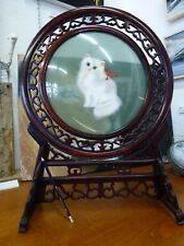 Chinese Suzhou double sided embroidered Silk Cat Table Screen glass & wood frame