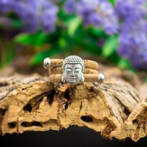 Silver & Cork Buddha Adjustable Ring -Vegan-Peta approved