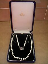 Vintage Single String Row of Cultured Pearls on A Silver & Amethyst Clasp Boxed