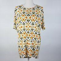 Lularoe Irma Top Short Sleeve Scoop Neck Floral Multicolor Size XXS