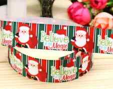 "1M 22mm 7/8"" SANTA MAGIC OF CHRISTMAS GROSGRAIN RIBBON 99p CAKE PARTY XMAS"