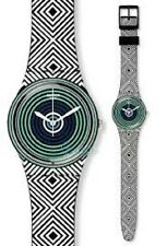 SWATCH GB280 Watch GREEN SPELL! Black Blue Green PRISM Silicone UNISEX NIB RARE