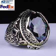 Turkish Handmade 925 Sterling Silver Mystic Topaz Heavy Mens Ring All Size