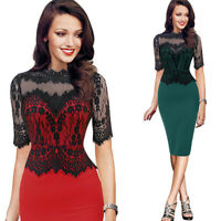 Elegant Womens Office Lace Formal Business Work Party Sheath Tunic Pencil Dress