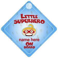 Little Supereroe a Bordo Baby / Bambino Auto firmare qualsiasi nome