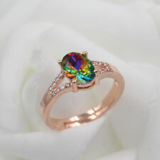 925 Rose Gold Plated Women/Men New Fashion Ring Gift Size Open H55