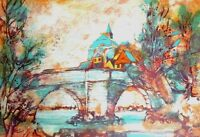 PIERRE JACQUOT UNFRAMED SIGNED # LITHOGRAPH, EUROPEAN CANAL SCENE, COA