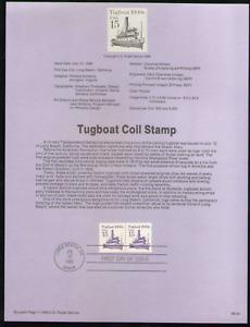 US. SP774. 2260. 15c. Tugboat 1900s, Transportation Coil. Souvenir Pages 1988