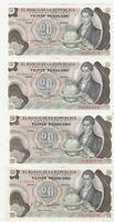Colombia 20 Pesos 1977 1979 Banknotes Papermoney Lot of 4 Crisp AU / Unc