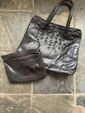 Amazing Jas M B London Large Black Leather Tote Hand Bag, Studs, rrp £350